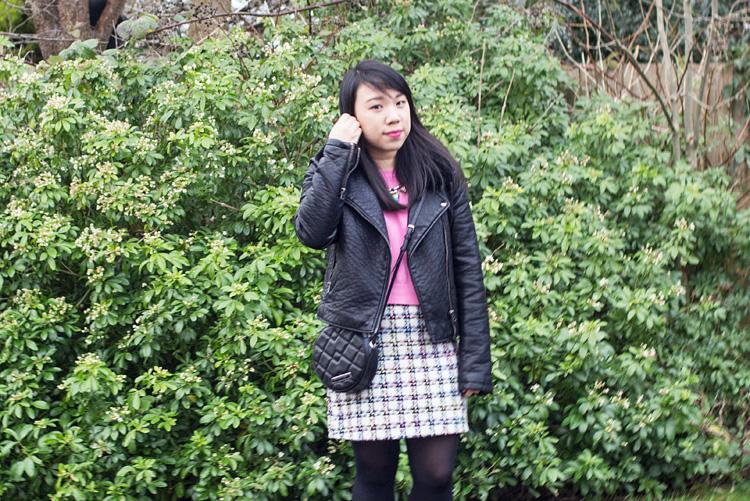 Colourful tweed skirt half portrait