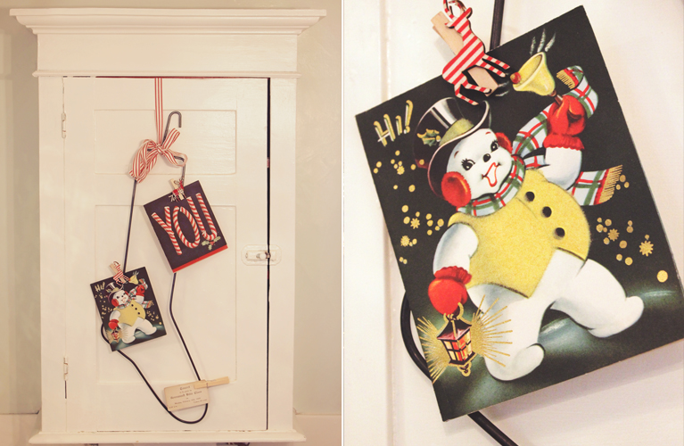 DIY Christmas Decor - Sock Stretcher Stocking vintage Bathroom Decor, with vintage christmas card | Alex Inspired