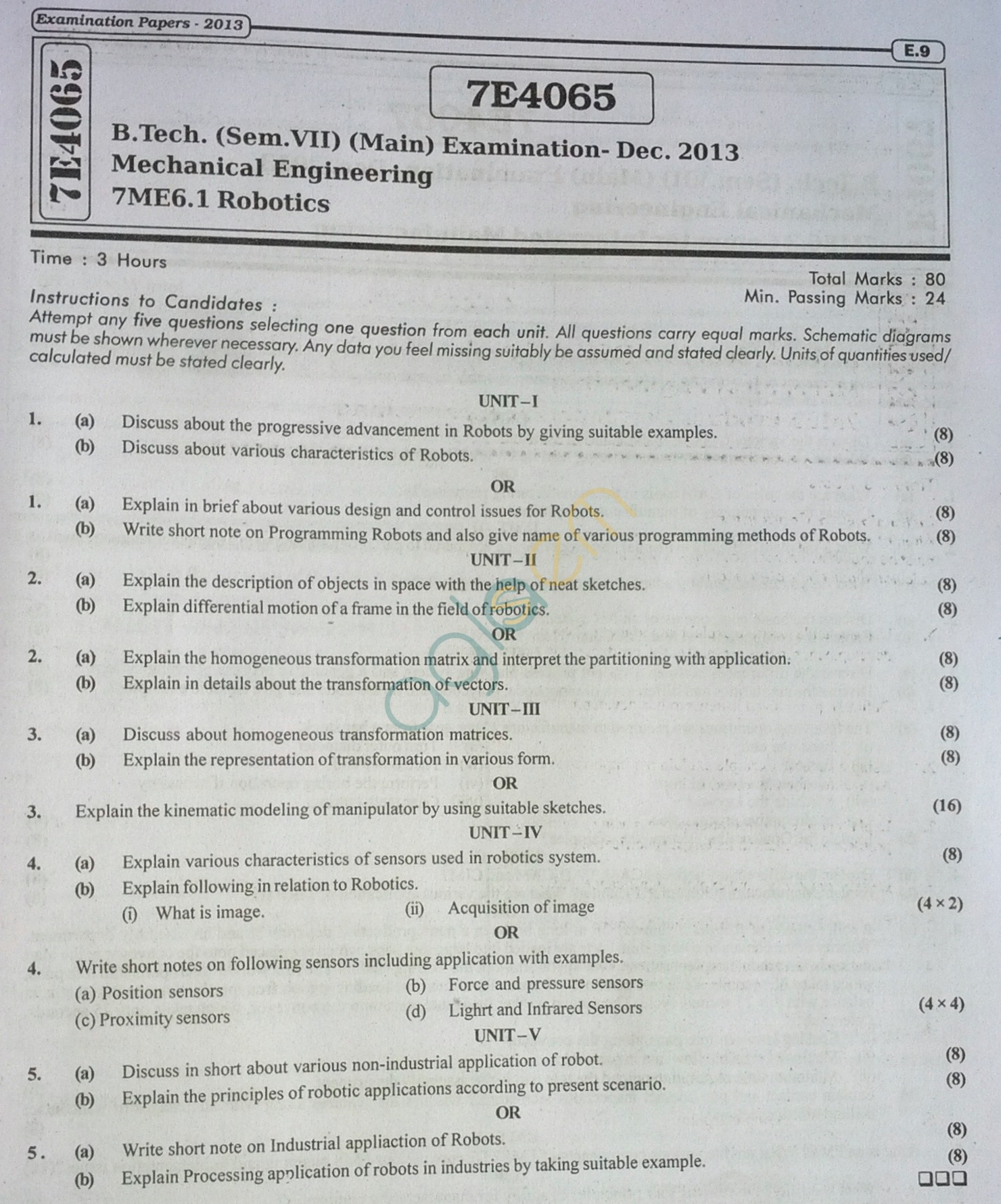 RTU: Question Papers 2013 - 7 Semester - ME - 7E4065