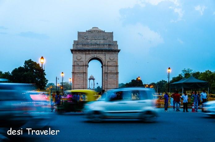 Rush hour Delhi India Gate