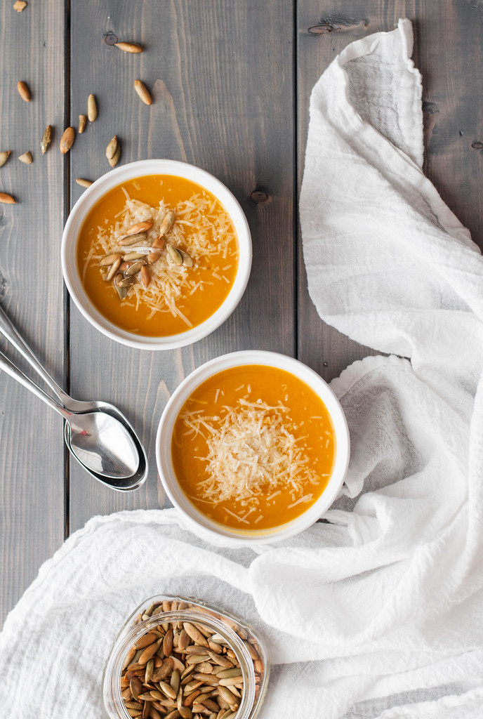 My favorite butternut squash soup recipe--so simple! I've made this and kept it in the freezer for weeks before big family holidays, and it's always a crowd pleaser.