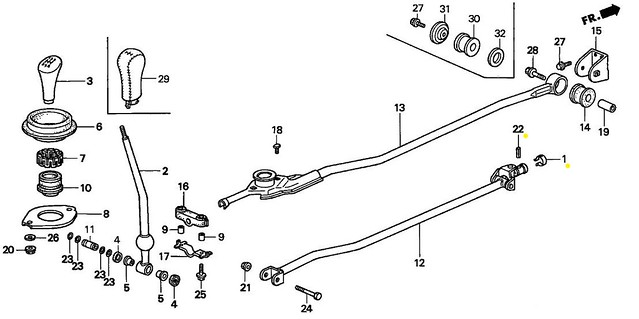 GENUINE HONDA CIVIC DEL SOL INTEGRA SHIFT LINKAGE PIN AND
