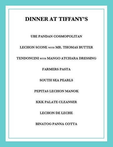 Dinner at Tiffany's Menu