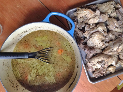Broth and chicken for chicken noodle soup