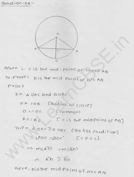 RD Sharma Class 9 solutions Chapter 16 Circles Ex 16.2 6