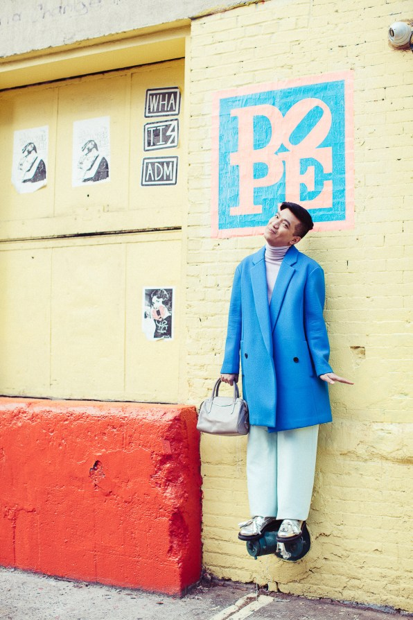 Bryanboy in Williamsburg wearing a Tibi coat