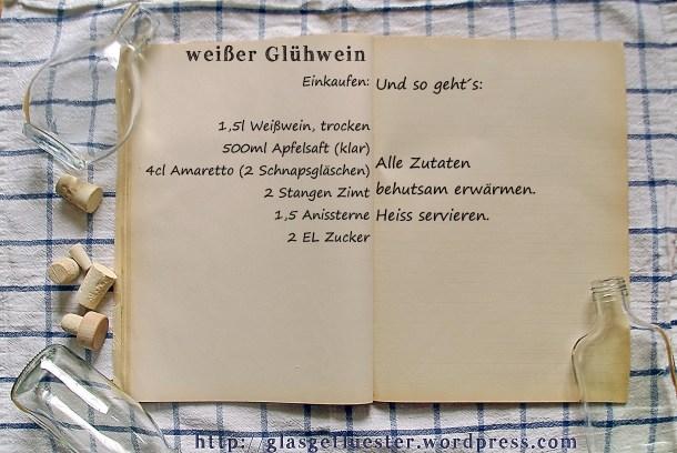 Einkaufszettel weißer Glühwein by Glasgeflüster