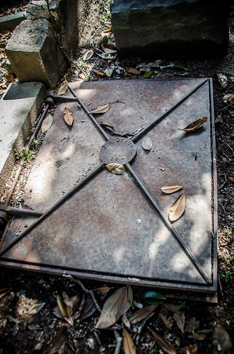 Trapdoor entrance to the grave of Dr. James Adams DeVore