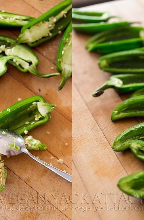 slicing fresh jalapeños