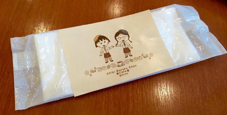 Wet tissue towel at Chibi Maruko Chan Cafe at FUJI TV building Odaiba
