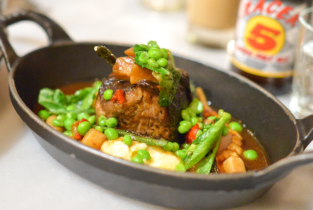 Red Wine-Braised Beef Short Rib anson mills polenta, porcini mushrooms, sugar snap peas