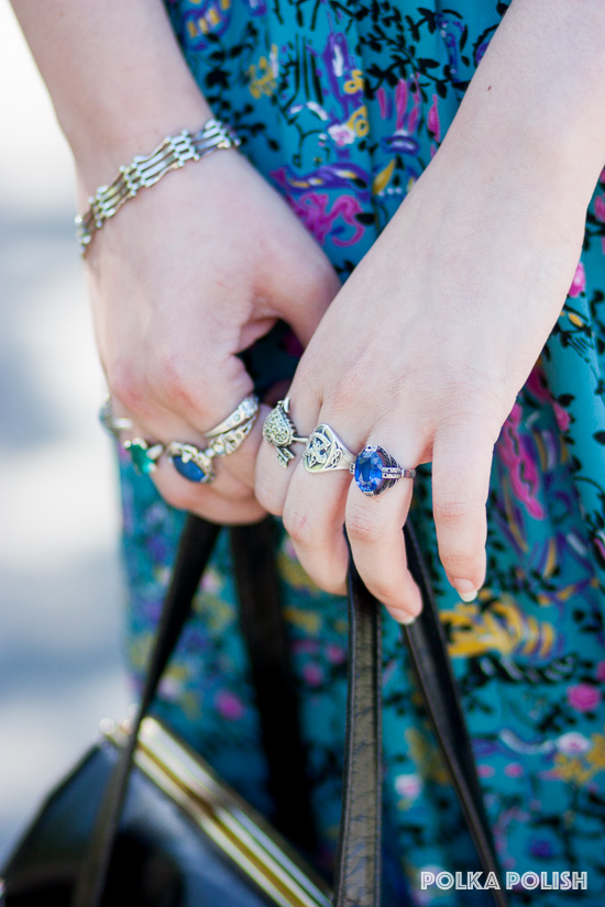 Hannah is decked out in deco rings
