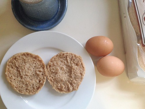 English muffin with eggs