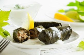 los dolmades como entrante de la cocina griega genuina. Dolma, stuffed grape leaves, turkish and greek cuisine