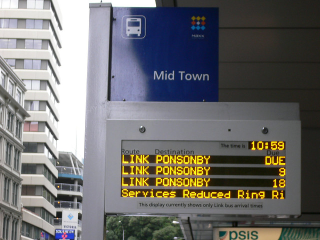 Bus stop in Auckland