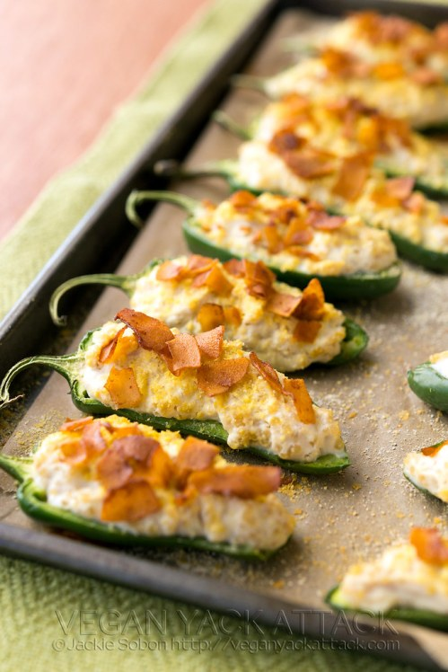 Creamy Quinoa Jalapeno Poppers with Coconut Bacon