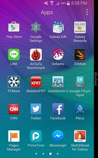 App tray ของ Samsung Galaxy Note Edge