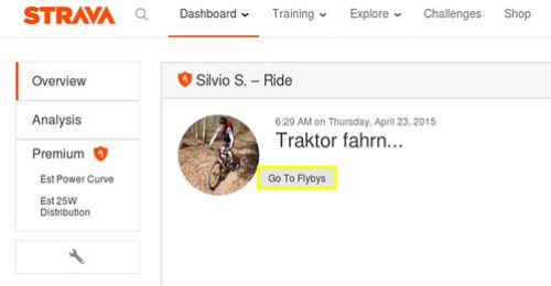 Strava FlyBy button