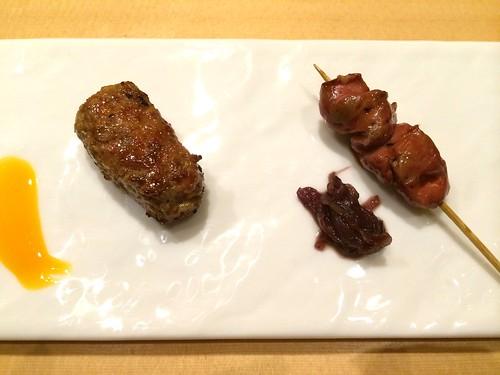 自家製つくねと比内地鶏のレバー クミン風味のリヨネーズ添え@瀧口
