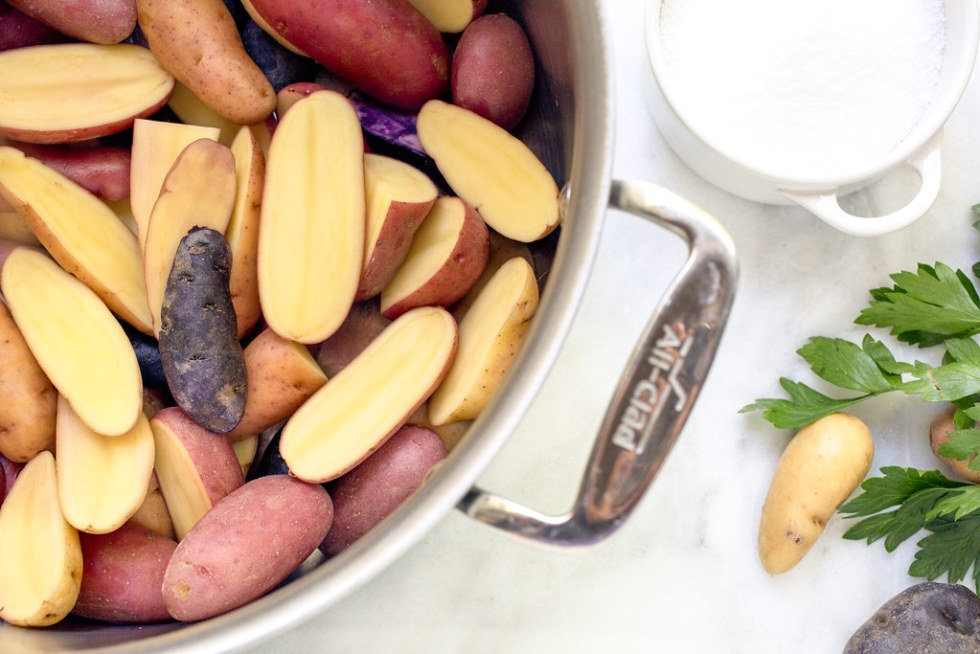Fingerling Potatoes in pot for french potato salad