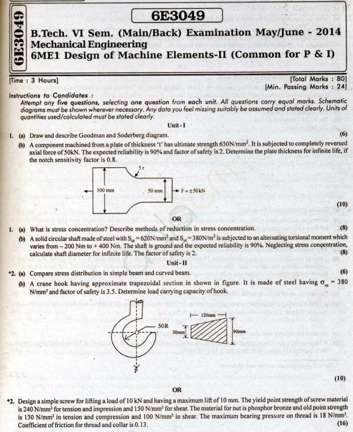 RTU: Question Papers 2014 - 6 Semester - ME - 6E3049