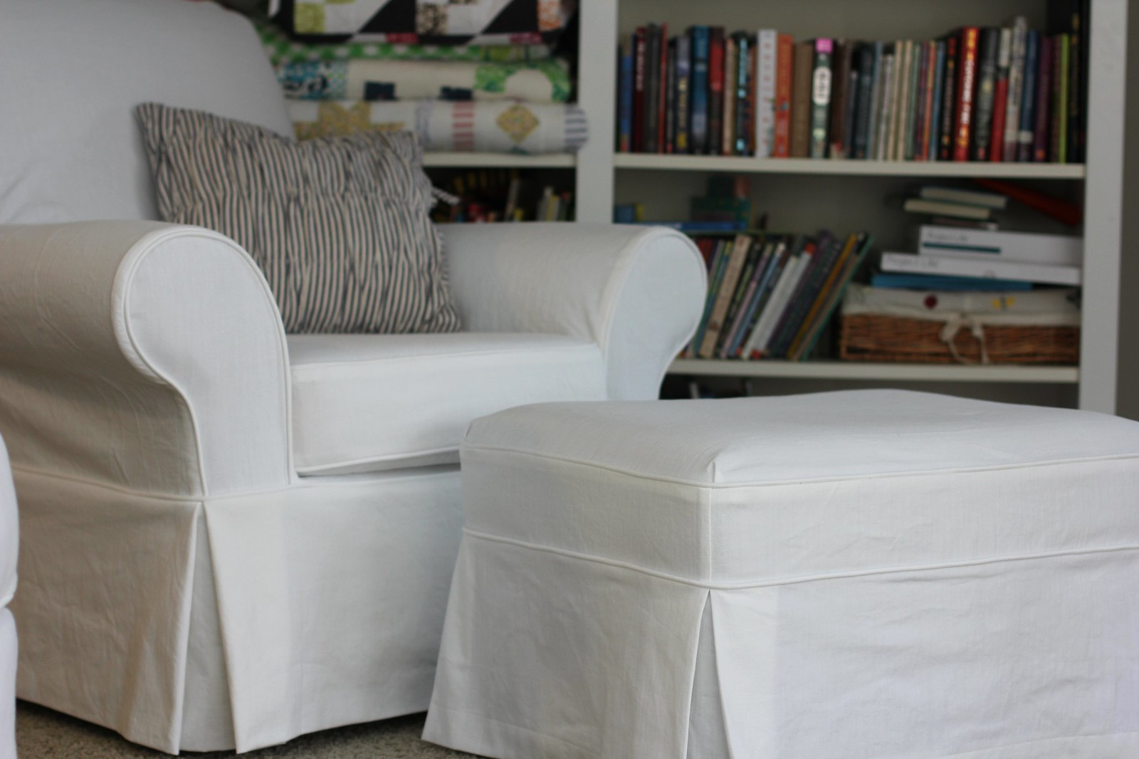 white slipcover chair and ottoman hon ignition 2 0 review twin fibers slipcovered
