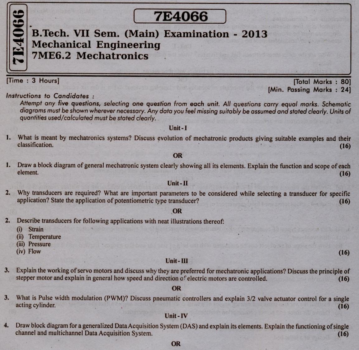 RTU: Question Papers 2013 - 7 Semester - ME - 7E4066