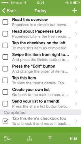 Paperless - чек-листы на iPhone и iPad