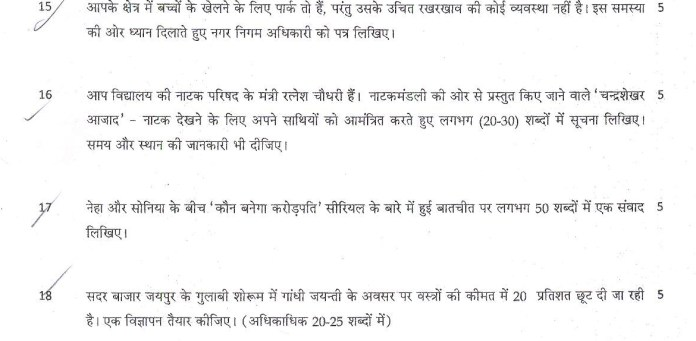 CBSE Class 10 Question Paper Hindi (SA2)