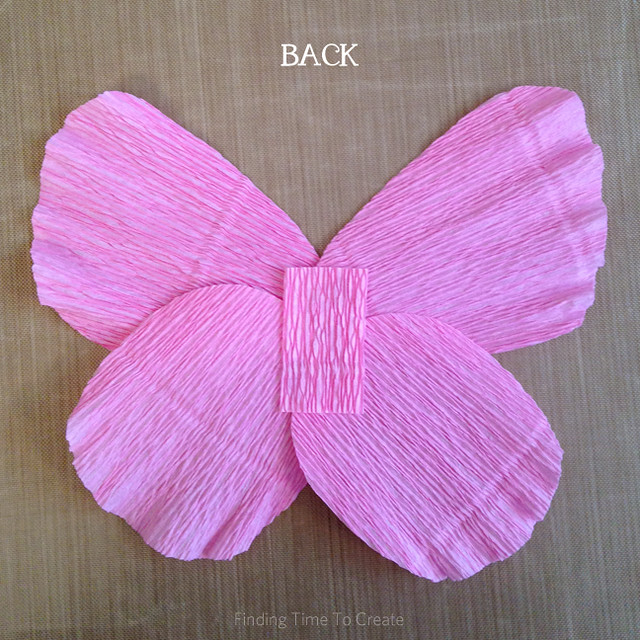Hot glue butterfly crepe paper layers - back