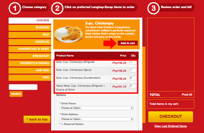 How to order online in Jollibee