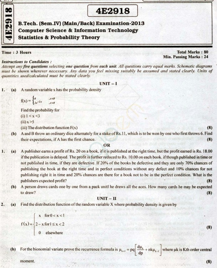 RTU: Question Papers 2013 - 4 Semester - CS & IT - 4E2918