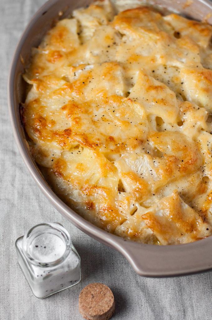 Gluten-free potato and celery root gratin with truffle salt