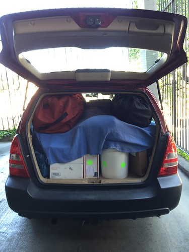 The Forester packed and ready to go