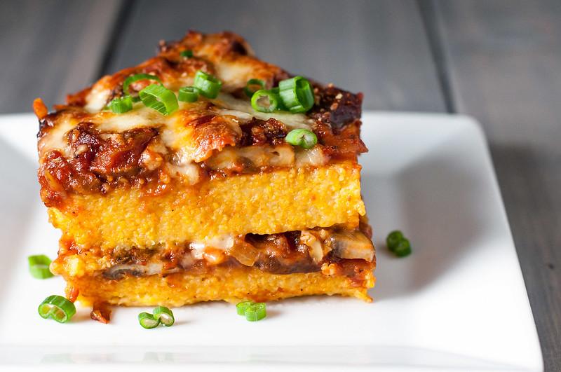 Gluten-free polenta pie with mushroom and tomato filling (plus easy vegan option)