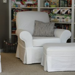 White Slipcover Chair And Ottoman Pier One Swing Twin Fibers Slipcovered