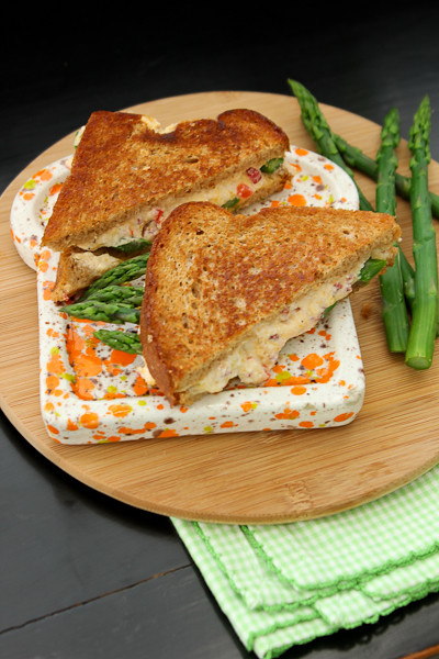 Skinny Pimento Grilled Cheese & Asparagus Sandwich