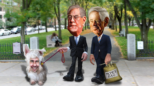 The Koch Brothers walking their dog, Scotty.