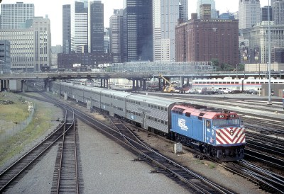 Metra 180 from 12th Street Viaduct, Chicago, IL on August 20, 1991