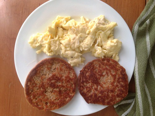griddled English muffin with scrambled eggs