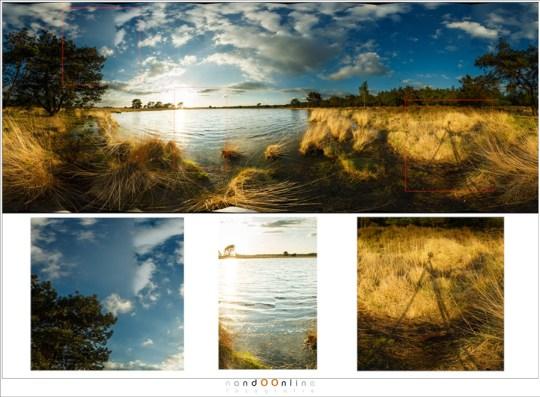 Drie verschillende fouten in de foto: de wolken (links) en de golven (midden) zijn stitchfouten door beweging, de schaduw (rechts) is niet echt een fout, maar wel iets wat ongewenst is.