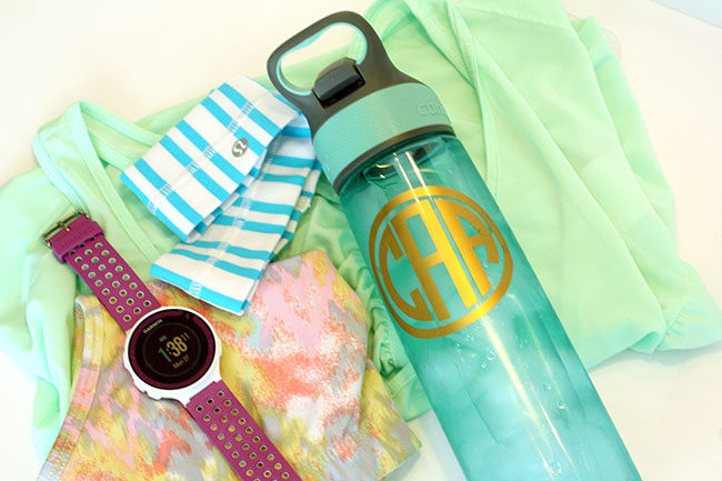 monogrammed water bottle silhouette