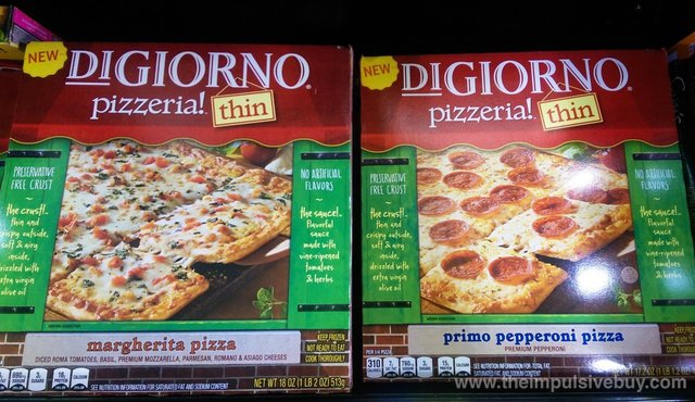 DiGiorno Pizzeria! Thin (Margherita and Primo Pepperoni)