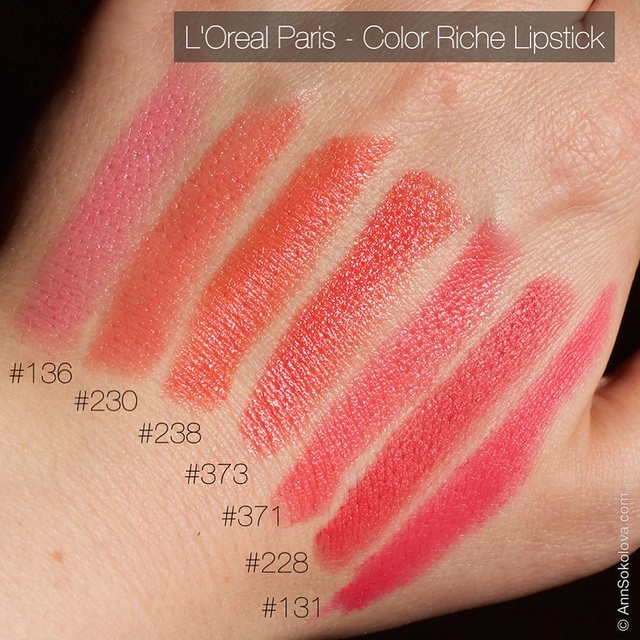 07 L'Oreal Paris Color Riche Lipstick 30 years new shades 136, 230, 238, 373, 371, 228, 131 swatches3