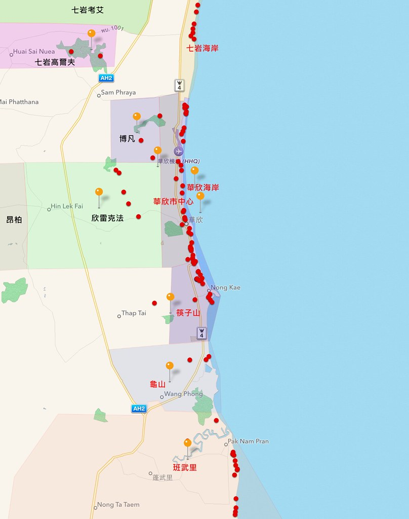 Hua Hin Hotels Map