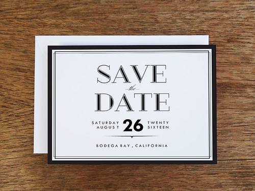 Black and White Neo-Classical Design Printable Save the Date Card Template