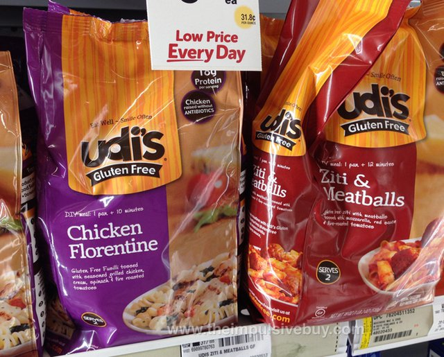 Udi's Gluten Free Chicken Florentine and Ziti & Meatballs Frozen Entrees