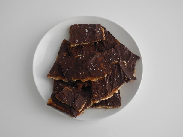 Chocolate Matzo Toffee