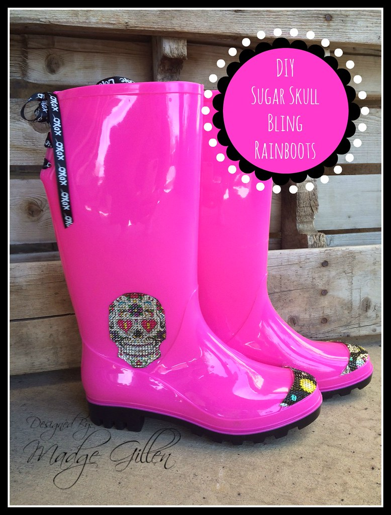 Sugar Skull Rainboots DIY button