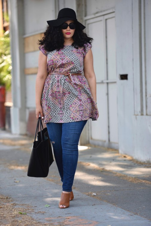 Scarf Print Tunic and Wedge Sandals